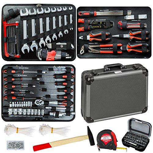 TecTake 500 teiliger Werkzeugkoffer mit 4 Fächern mit Werkzeug bestückt 4 Fach-werkzeug-kasten