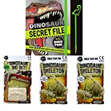 Educational Dinosaur Book For Children Including 2 x Skeleton Models, Dinosaur Fossils Digging Set Plus Dinosaurs Detective Facts And Activities Book, Great For Educating Kids