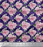 Soimoi Blau Satin Seide Stoff überprüfen, Blätter & Rose