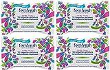 Femfresh - Toilette Intime - 10 Lingettes intimes Rafraîchissantes et Hydratantes - Format Pocket - Lot de 4
