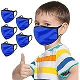 5 Stück Kinder-Mundschutz mit motiv Einfarbig/Cartoon Druck,Waschbar Wiederverwendbar,Baumwolle Stoff Atmungsaktiv…