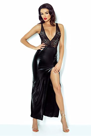 langes Kleid Jacqueline von Demoniq Magnetic Collection Wetlook Gogo ...