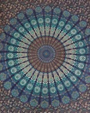 Nidhi Multi Color Queen Size 240x220 cms Bedspreads with Mandala Tapestry print also can be used as wall hangi