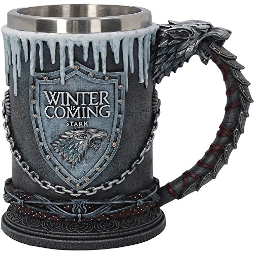 Game of Thrones Krug deluxe 3D Stark Wappen Schattenwolf Deko 600ml grau