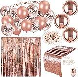 Erosion 122 Stück Rose Gold Party Dekorationen & Bridal Shower Dekorationen | 18 in Roségold Ballons (Konfetti und Festen Latex) | Tischläufer & 100 PS Tisch Konfetti & Vorhang
