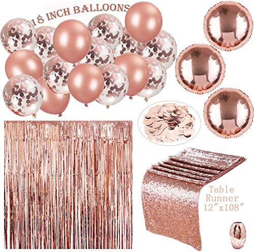 ose Gold Party Dekorationen & Bridal Shower Dekorationen | 18 in Roségold Ballons (Konfetti und Festen Latex) | Tischläufer & 100 PS Tisch Konfetti & Vorhang ()