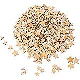 Outus 200 Piezas Estrellas de Madera en Blanco Rebanadas de Madera Mini Adornos de Estrella para Manualidades Boda DIY, 4 Tamaños Mezclados