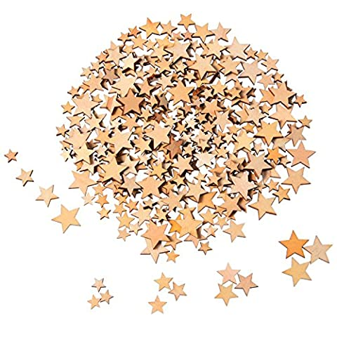 Outus 200 Pieces Wooden Stars Blank Wood Star Slices Mini