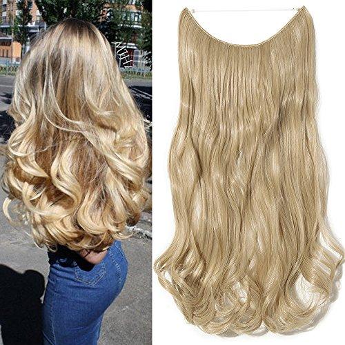 50cm extension capelli mossi pezzo unico con filo trasparente one piece wire in hair extensions 3/4 full head lunghi ondulati, biondo cenere/biondo chiaro