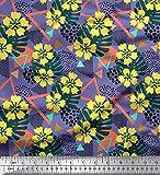 Soimoi Violet Mousse Georgette en Tissu Triangle, Floral et Monstera Feuilles Tissu a Coudre Imprime par Metre 42 Pouce Large