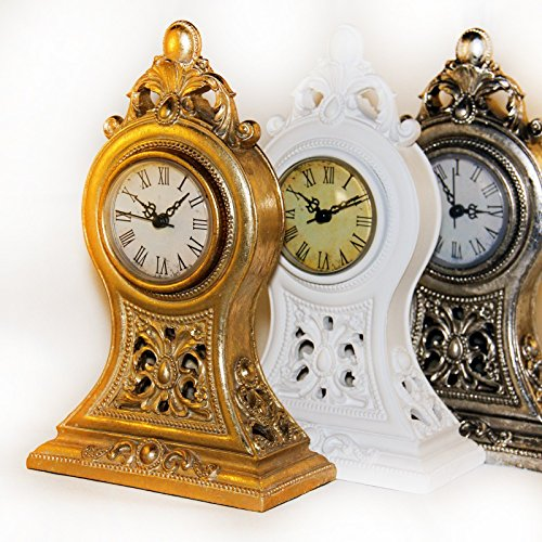 Uhr Standuhr Tischuhr Landhaus Barock Dekouhr shabby chic antik look H12.20, Farbe:Gold
