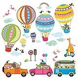 DECOWALL DAT-1710 Les Transports Voitures Montgolfière Animaux Autocollants Muraux Mural Stickers Chambre Enfants Bébé Garderie Salon