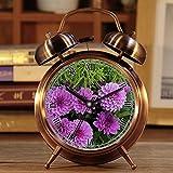Wecker, Retro Portable Twin Bell neben Wecker mit Nachtlicht 121.dahlia lila rosa Blume Zierpflanzen