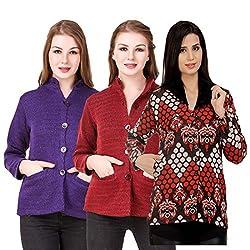Kritika World Womens Wool Cardigan Dress (COAT_NHRU_PURPLE_MAROON_COAT2_RED_Purple Maroon Red_Large)