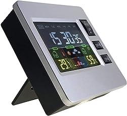 Yeitur Uhr mit LCD | Digitaler Wecker Buntes Display | Funkwecker Multifunktion | Anzeige der Temperatur und Luftfeuchtigkeit | Extra Wetter Vorhersage | Klein Modisch | Stromsparend Umweltfreundlich