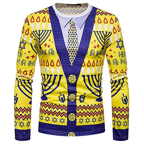 KPILP Kapuzenpullover Herren Pullover Ugly Weihnachten Printing Outwear Top Langarm T-Shirt Bluse Herbst Winter Sweatshirts(G-gelb,EU-52/CN-S