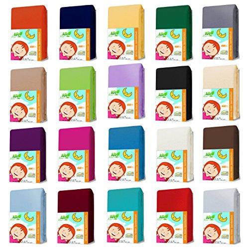 AR Line KINDER Jersey Spannbettlaken 70 x 140 cm aus 100% Baumwolle für Kinderbett/Babybett, in Farbe: Pink