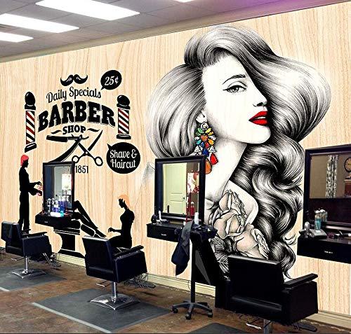 GBHL HD Wallpaper TV European Tooling 3D Brick Wandverkleidung Fashion Beauty Barber Shop Hintergrund Wand Papier Friseursalon Shop Dekoration Wandbild, 300X210 CM (118.1 By 82.7 In) (Wand Papier Dekoration 3d)