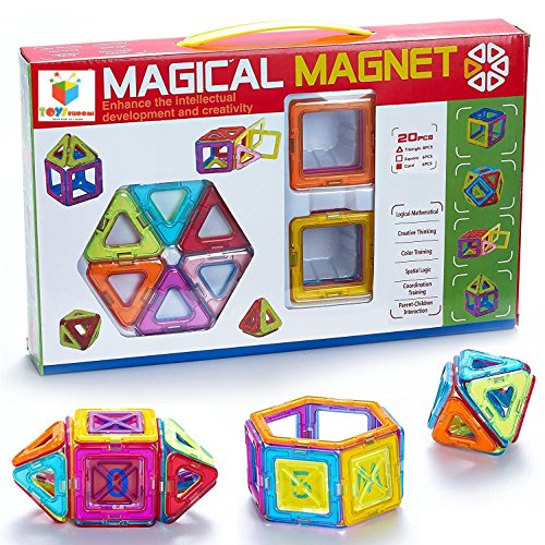 Toys Bhoomi 20 Piece Magical Magnetic Block Tiles Learning STEM Activity Playset