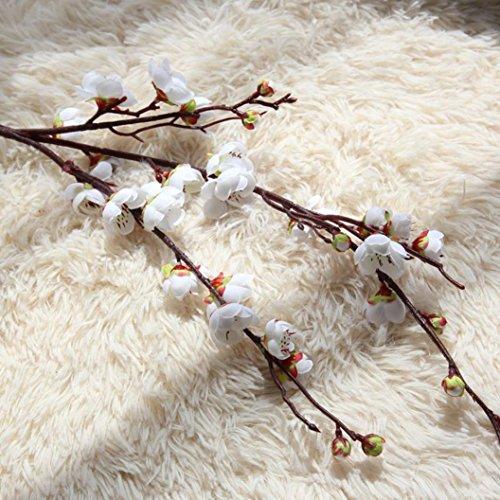 Makaor Künstliche Fake Plum Blossom Blumen Hochzeit Bouquet Home Decor 1Bouquet Cherry Blossoms Dimensions:Total Length:94cm Weiß (Vasen Bulk Weiße In)
