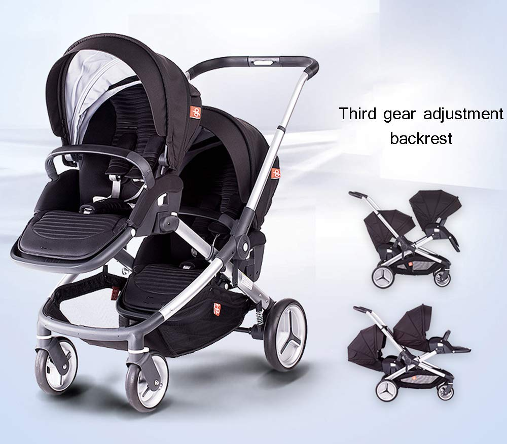 MYRCLMY Baby Strollers Double Pushchair Twins Tandem Pushchair,Lightweight With Convertible Bassinet Stroller Extended Canopy/Large Storage Basket MYRCLMY *LIGHTWEIGHT - Travel-friendly lightweight design is perfect for traveling and day trips. *EXTRA SPACE - Multi-position tilting seat and rotating calf support can be easily adjusted to ensure baby comfort; large storage basket and two integrated seat back pockets provide extra space for your baby. *RECLINING SEAT -- Reclining seat offers 5-point safety restraint system and accommodates child to 50KG per seat. 4
