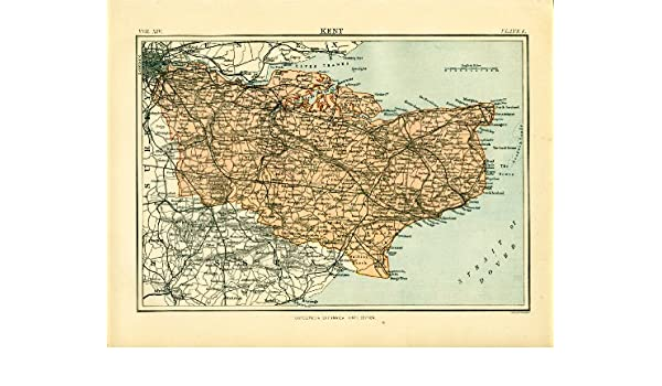 Map Of England Villages.Kent 1898 Antique Engraved Colour Map Kent Towns And Villages