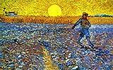 Legendarte P-086 Quadro di  Vincent Van Gogh - Seminatore al Tramonto, Stampa digitale su tela, Multicolore, cm. 50 x 80