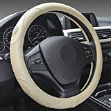 XuanMax Universal Funda de Volante Coche Cuero Genuino Respirable Cubre Volante Piel Cuero Autentico Vehiculo Cubierta del Volante Envoltura Protectora Antideslizante Auto Genuine Leather Steering Wheel Cover 38cm - Beige
