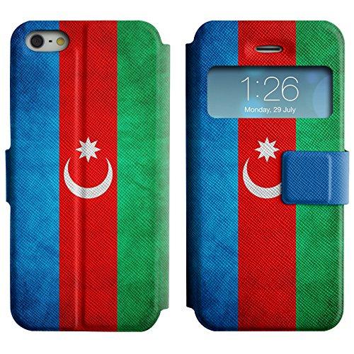 Graphic4You Vintage Uralt Flagge Von Usbekistan Usbekisch Design Leder Schützende Display-Klappe Brieftasche Hülle Case Tasche Schutzhülle für Apple iPhone 5 und 5S Republik Aserbaidschan Aserbaidschaner