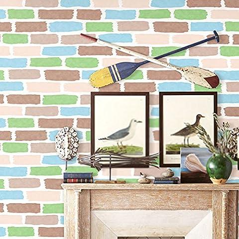 Kinderzimmer Aufkleber Wanddekor farbige Ziegel Tapete, grün