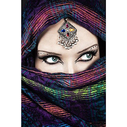 Pitaara Box Portrait of Beautiful Woman Wrapped In Scarf Peel & Stick Vinyl Wall Sticker 37.4 X 56.2Inch Multi Print Scarf