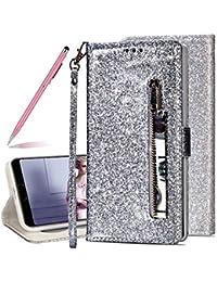 SKYXD Glitter Reißverschluss Brieftasche Hülle für Huawei P20 Pro, Stilvoll Luxus Bling Strass Wallet Stoßdämpfende Multifunktion Magnetisch Etui für Huawei P20 Pro(Silber)