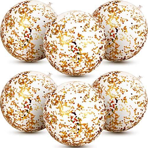e Glitter Wasserball Konfetti Wasserbälle Transparent Schwimmbad Party Ball für Sommer Strand Wasser Spielen Spielzeug, Schwimmbad und Party Gefallen, 16 Zoll (Gold) ()