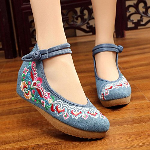 CYMIU Frauen chinesische Blume Bestickt Schuhe Wohnungen Vintage Mary Jane Schuhe Casual Strap Wohnungen Ballett Loafer Hochzeit Single Plate Schnalle Riemen Bühnenshow Performance Blumen, 38 Single Strap Mary Jane