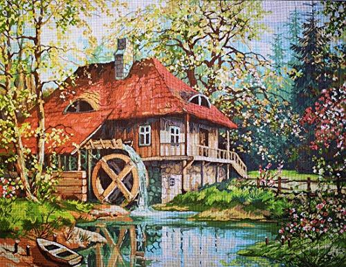 Hudemas Gobelin Stickbild Stickpackung Die Mühle halber Kreuzstich 54x70cm inkl Sticktwist cod 699