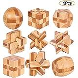 YGZN 9 Pezzi Rompicapo Puzzle Giocattoli di Legno - 3D Puzzle di Legno - Gioco di Puzzle di Legno - Ideale per…
