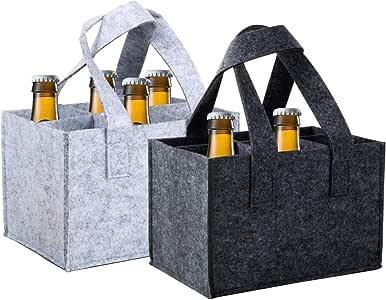 VINFUTUR 2 Pack 6 F/ächer Filz Flaschentasche Biertr/ägerTasche Flaschentr/äger Flaschenbeutel Flaschenverpackung Flaschentragetasche Flaschenkorb