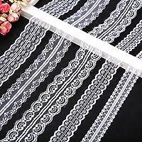 KING DO WAY 5 x 10 Meter Spitzenbordüre Vintage Spitzenborte Spitzenband Weiß Breite 2.5-5cm für Hochzeit Party Ostern Weihnachten