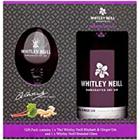 Whitley Neill Handcrafted Rhubarb and Ginger Gin Glass Gift Pack, 70 cl