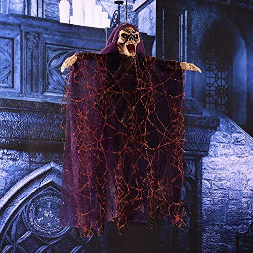 ectric Ghost Hexe Terrorist Spielzeug Pendel Dekoration, Blinkende Rote Augen Beängstigend Klang, Lila, Schwarz, Weiß 41 * 50Cm,Purplehat ()
