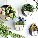 Sue Supply Pastoral Retro hierro geométrico colgante de pared decoración innovadora cesta de flores para maceta de jardín macetas colgantes decoración macetas, gris, redondo