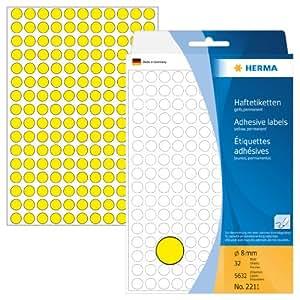 Herma 2211 Haftetiketten farbig, rund (Ø 8 mm, Papier matt) 5.632 Stück Markierungspunkte auf 32 Blatt, gelb, selbstklebend, Handbeschriftung