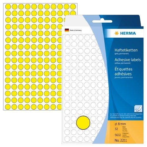 herma-2211-vielzwecketiketten-oe-8-mm-rund-papier-matt-5632-stuck-gelb