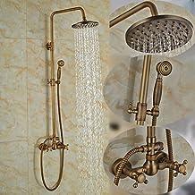 Rozinsanitary Set de grifo de ducha de latón envejecido para montaje en pared, incluye alcachofa