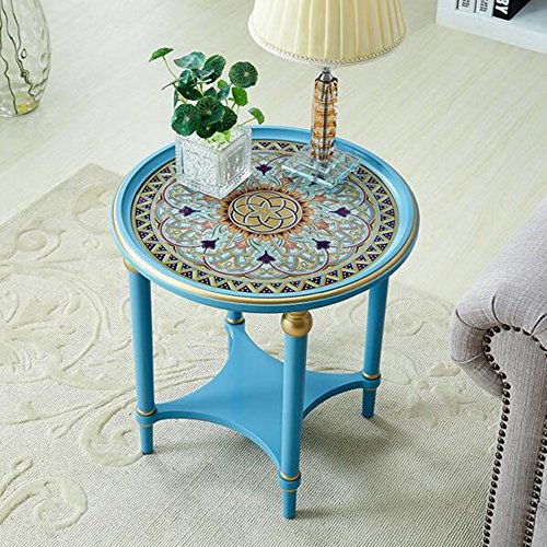FEI Canapé table basse en bois trempé ronde Table basse sculptée Φ52 * H52cm