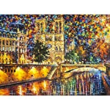 DIY Oil Paint by Number Kit,Painting Paintworks Notre Dame Cathedral Wall Art Picture with Brushes 16 * 20 inch Christmas Decorations Gifts(Without Frame)