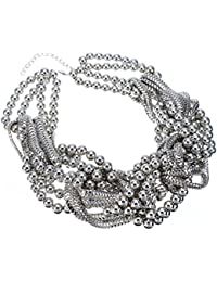 Granos de la aleación de lujo Collar babero de cadena trenzada grueso Collar de la declaración de regalo