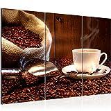 Bilder Küche Kaffee Wandbild 120 x 80 cm Vlies - Leinwand Bild XXL Format Wandbilder Wohnzimmer Wohnung Deko Kunstdrucke Braun 3 Teilig -100% MADE IN GERMANY - Fertig zum Aufhängen 501831b