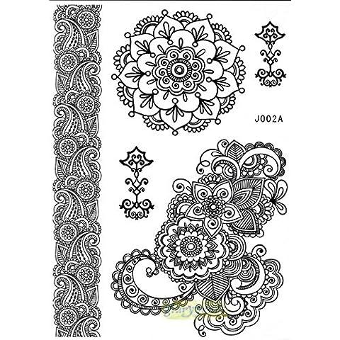 MANDALA HENNE Tatuaggi Tatoo FLASH Temporanei Nero