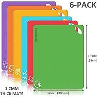 beedopure Taglieri Cucina Set in Plastica Set Tagliere in plastica Flessibile Extra Spessa  tappetini con Icone  Set di 6
